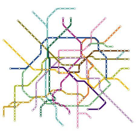 Mappa della metropolitana di Parigi, metropolitana, modello di schema di trasporto urbano per la strada sotterranea.