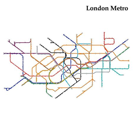 Mapa londyńskiego metra, metra, szablon schematu transportu miejskiego dla podziemnej drogi.