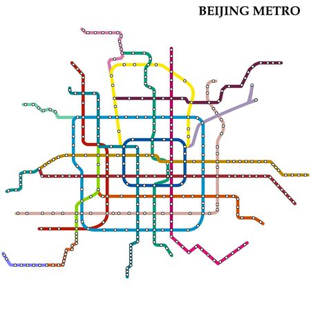 Map of the Beijing metro, Subway, Template of city transportation scheme for underground road.