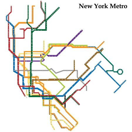 Map of the New York metro, Subway, Template of city transportation scheme for underground road.