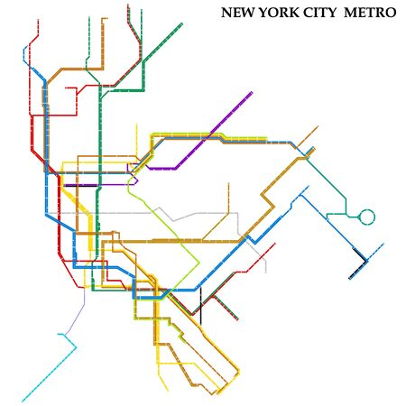Map of the New York City metro, Subway, Template of city transportation scheme for underground road. Ilustração