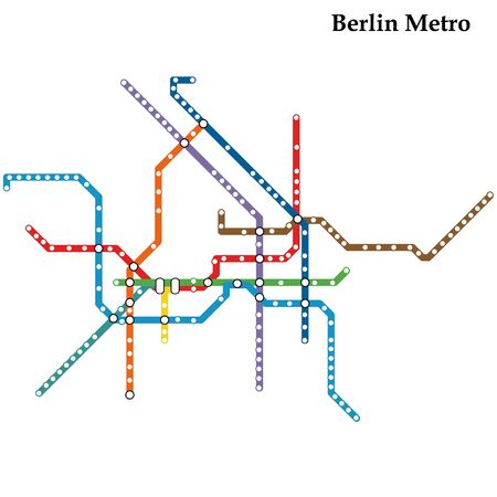 Map of the Berlin metro, Subway, Template of city transportation scheme for underground road.