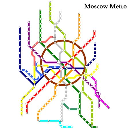Map of the Moscow metro, Subway, Template of city transportation scheme for underground road.