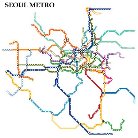 Map of the Seoul metro, Subway, Template of city transportation scheme for underground road.
