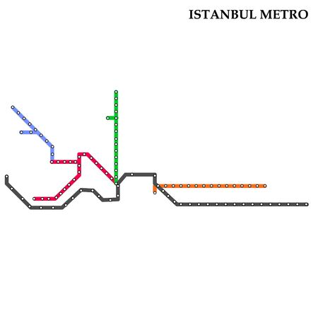 Map of the Istanbul metro, Subway, Template of city transportation scheme for underground road. Vettoriali