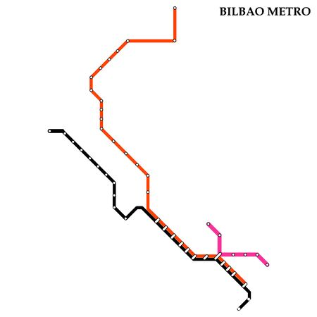 Map of the Bilbao metro, Subway, Template of city transportation scheme for underground road.