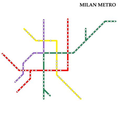 Map of the Milan metro, Subway, Template of city transportation scheme for underground road. Stock Illustratie