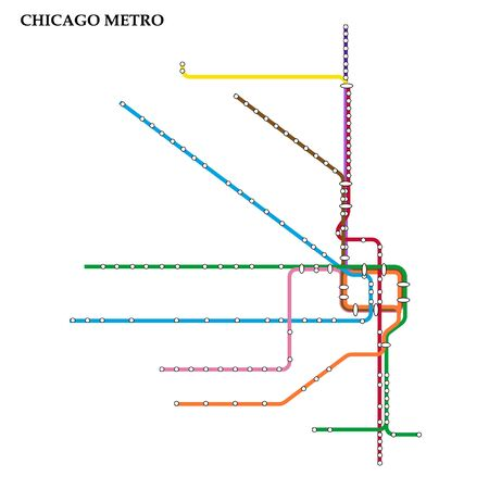 Map of the Chicago metro, Subway, Template of city transportation scheme for underground road.  イラスト・ベクター素材