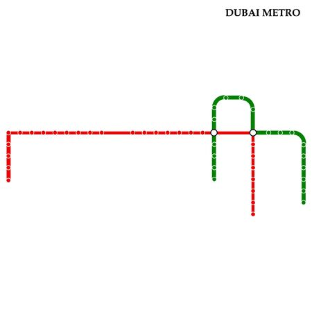 Map of the Dubai metro, Subway, Template of city transportation..