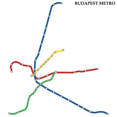 Map of the Budapest metro, Subway, Template of city transportation scheme for underground road.