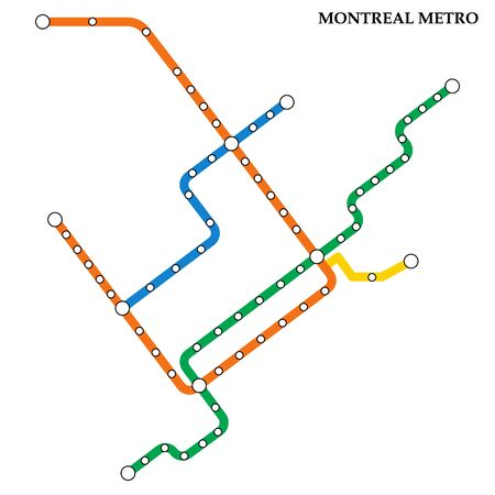 Map of the Montreal metro, Subway, Template of city transportation scheme for underground road.
