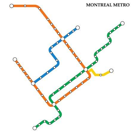 Mapa metra w Montrealu, metro, szablon schematu transportu miejskiego dla podziemnej drogi. Ilustracje wektorowe
