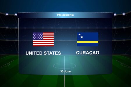 United States vs Curacao football scoreboard broadcast graphic soccer template