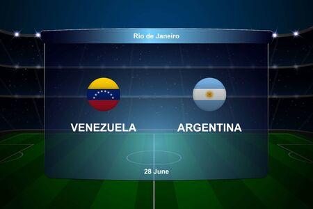 Venezuela vs Argentina football scoreboard broadcast graphic soccer template Illustration