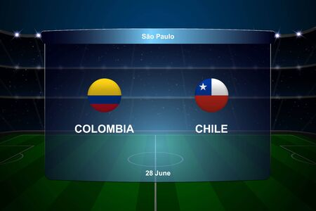 Colombia vs Chile football scoreboard broadcast graphic soccer template