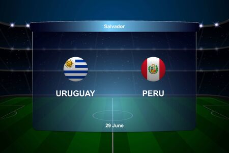 Uruguay vs Peru football scoreboard broadcast graphic soccer template