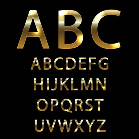 Fuente de metal dorado. letras con efectos dorados.