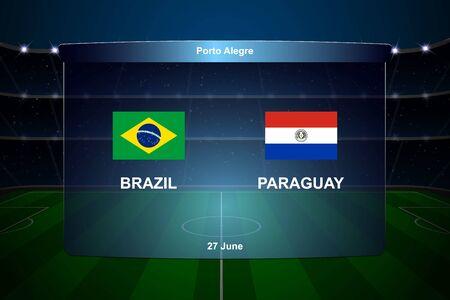 Brazil vs Paraguay football scoreboard broadcast graphic soccer template