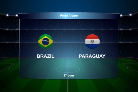 Brazil vs Paraguay football scoreboard broadcast graphic soccer template