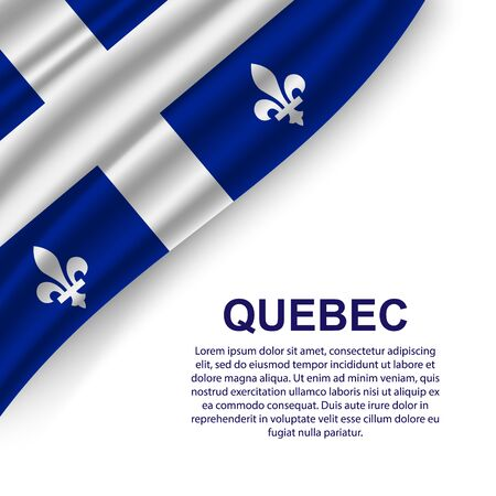waving flag of Quebec on white background. Template for design
