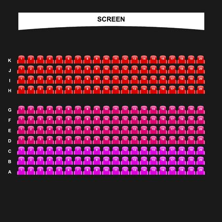 Movie seats booking interface template for ticket purchase Иллюстрация