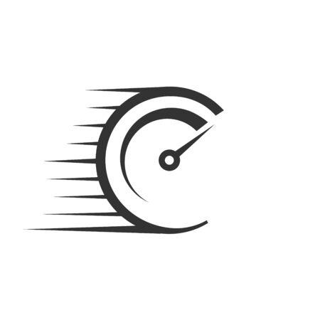 Icono de vector rápido con medidor de velocidad. Plantilla para tu diseño