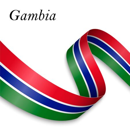 Waving ribbon or banner with flag of Gambia. Template for independence day poster design