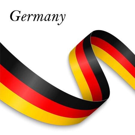 Waving ribbon or banner with flag of Germany. Template for independence day poster design Ilustração