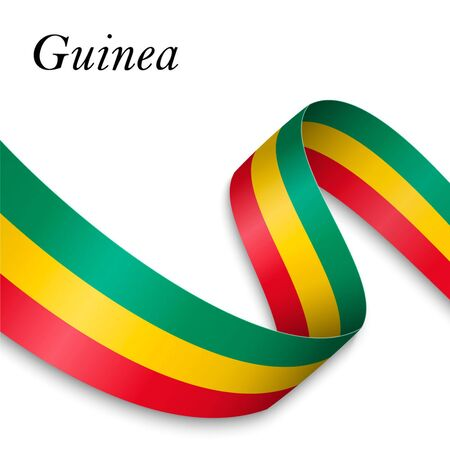 Waving ribbon or banner with flag of Guinea. Template for independence day poster design Ilustração