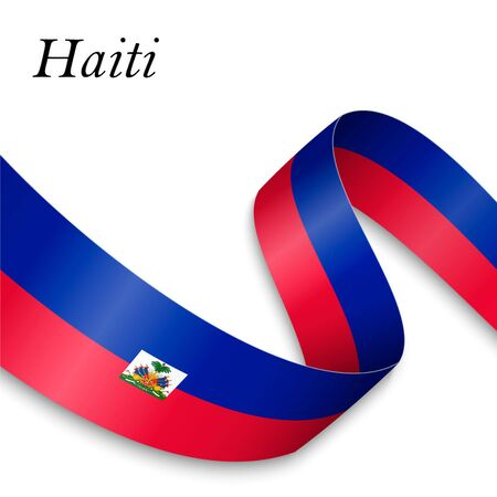 Waving ribbon or banner with flag of Haiti. Template for independence day poster design