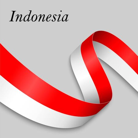 Waving ribbon or banner with flag of Indonesia. Template for independence day poster design Ilustração