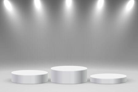 Realistic  platform, podium or pedestal with spotlights Illusztráció