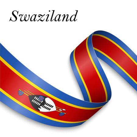 Waving ribbon or banner with flag of Swaziland. Template for independence day poster design Ilustração