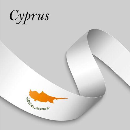 Waving ribbon or banner with flag of Cyprus. Template for independence day poster design Ilustração