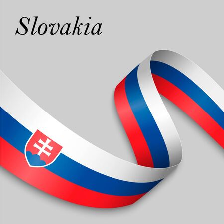 Waving ribbon or banner with flag of Slovakia. Template for independence day poster design