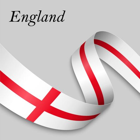 Waving ribbon or banner with flag of England. Template for independence day poster design
