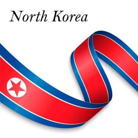 Waving ribbon or banner with flag of North Korea. Template for independence day poster design