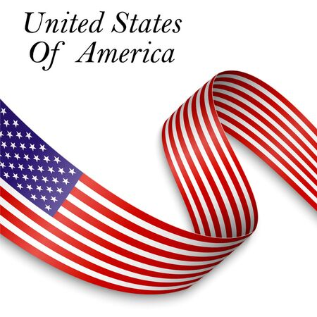 Waving ribbon or banner with flag of United States of America. Template for independence day poster design
