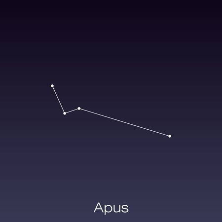 Apus constellation as it can be seen by the naked eye.
