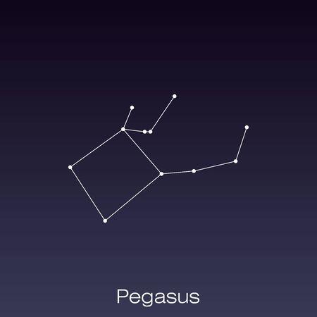 Gwiazdozbiór Pegaza widoczny gołym okiem. Ilustracje wektorowe