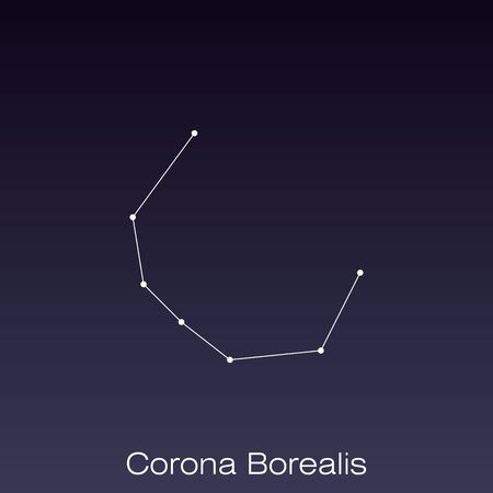 Corona Borealis constellation as it can be seen by the naked eye.
