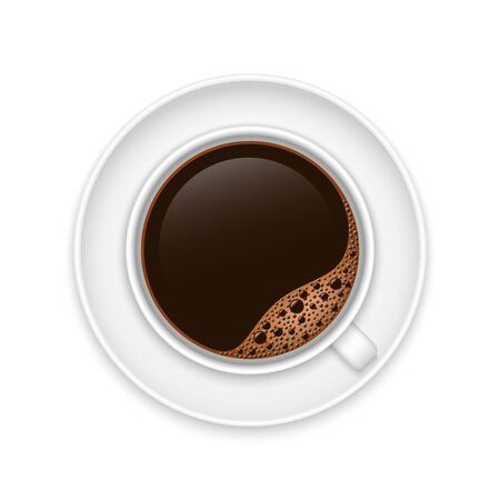 Realistic coffee cup top view . Template for your design Illustration