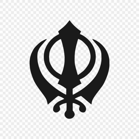 Khanda - symbol of sikhism. Vector illustration . Template for your design