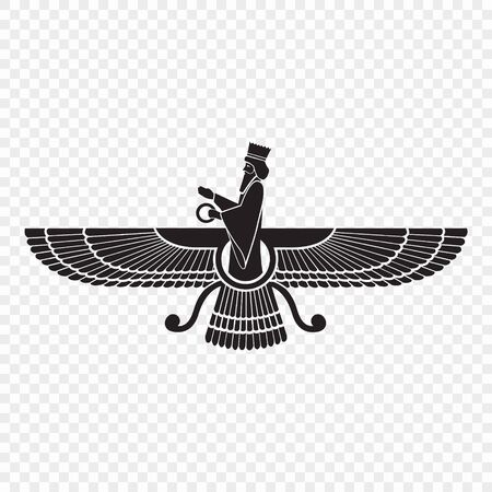 Faravahar. Symbol of Zoroastrianism. Vector illustration . Template for your design Illustration