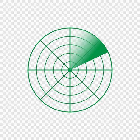 Radar screen icon. Vector illustration image on transparent background Ilustrace