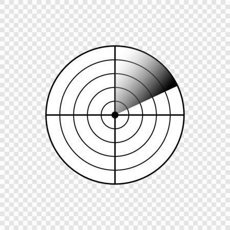 Icône de l'écran radar. Image d'illustration vectorielle sur fond transparent