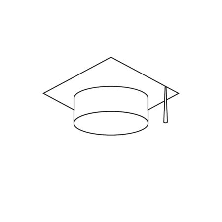 graduate cap Icon isolated on white background 写真素材 - 129450964