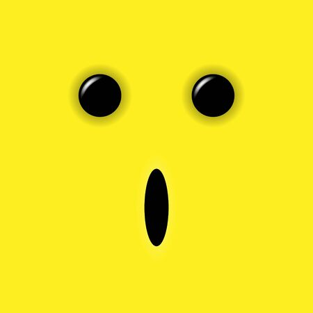 Fear emoticon on yellow background. Vector illustration Stockfoto - 129451588