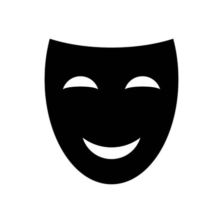 Happy theater mask vector icon . Template for your design