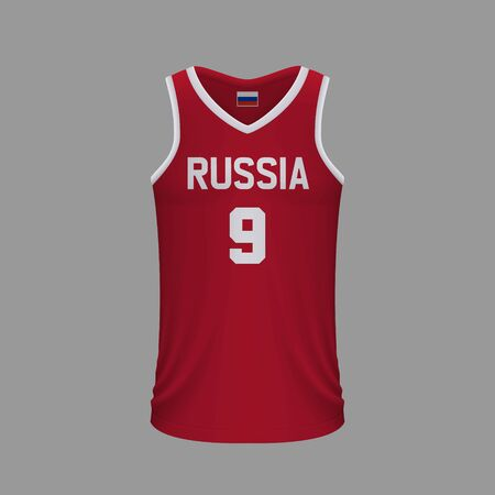 Realistic basketball shirt Russia, jersey template for kit. Vector illustration